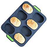 Ecohomn Baguette Baking Tray Silicone Bread Loaf Baking Tray Mold Non Stick Perforated Pan Bread Crisping Tray Loaf Baking Mould DIY 8 French Bread Stick Bread Roll Pan