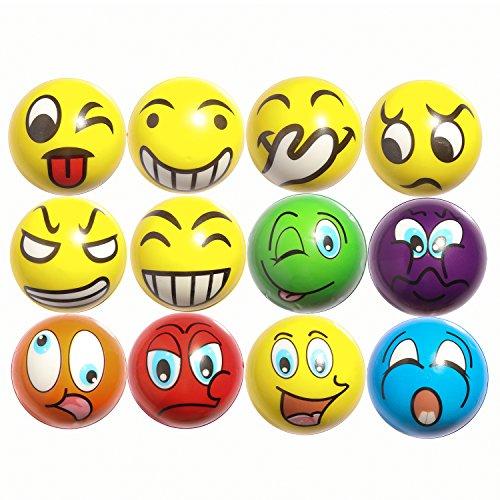 ZYDTRIP 12pcs Bolas Divertidas del Juego de Emoji, Pelota de Juguete Anti estrés, Juguete de la Novedad para el Color clasificado y la Fuente Divertida de la Fiesta del Estilo de Emoji de la Cara