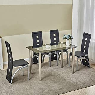 5 Piece Dining Table Set Black Glass 4 Chairs Seats Kitchen Dinette Home Decor