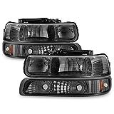 ACANII - For Smoked 1999-2002 Chevy Silverado 00-06 Suburban Tahoe Headlights +Bumper Lamps Driver + Passenger Side