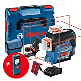 Bosch Professional Nivel Láser GLL 3-80 C, Medidor de Distancias GLM 20, 1 Batería de 12 V, Láser Rojo, con Función de Aplicación, Alcance Hasta 30 m, En L-BOXX, Amazon Exclusive