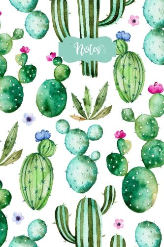 Price comparison product image Notes: Flower Cactus 120 Blank Lined Page Softcover Notes Journal,  College Ruled Composition Notebook,  6x9 Blank Line Watercolor Design Cover Note Book