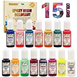 Colorant Resine Epoxy - 15 Couleurs Pigment de Resine Epoxy Liquide - Colorant Resin Epoxy Concentré pour Coloration Résine, Fabrication Bijoux, Peinture, Artisanat, Loisirs Créatifs (10ml)