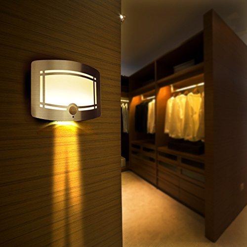 Lightess Lampada da Parete con Sensore di Movimento a LED, Luce Notturna, Interruttore Automatico Alimentata da Batteria per Corridoi Sentiero Scale Cucina Armadio