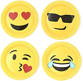 HAZOULEN 40 Pack Emoji Party Paper Plates, 9 Inches