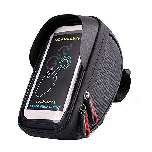 YZSL Fiets Bovenste Tube Touch Screen Mobiele Telefoon Tas, met 2 Rits Ontwerp, Bike Front Tube 6.0 Inch Tas, Geschikt voor Vouwfiets