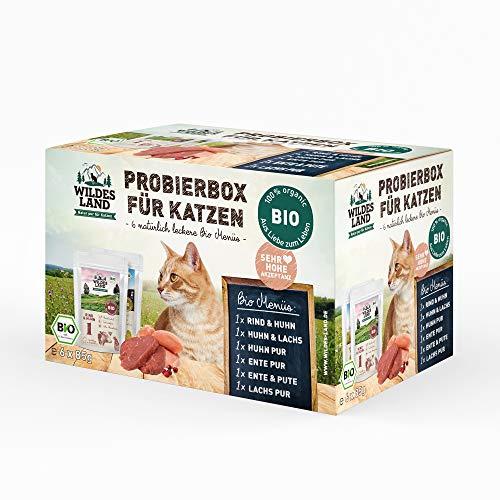 Wildes Land | Nassfutter für Katzen | Mix | Bio | 6 x 85 g | Aus kontrolliertem biologischen Anbau | Getreidefrei | Extra viel Fleisch | Beste Akzeptanz und Verträglichkeit