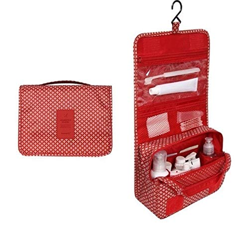 PoplarSun Imperméable à l'eau Portable Sac cosmétique Voyage Polyester Neceser Hanging Sac Neutre Wash Make Up Bag Organisateur de Bain Trousse de Toilette (Color : Red Stars)