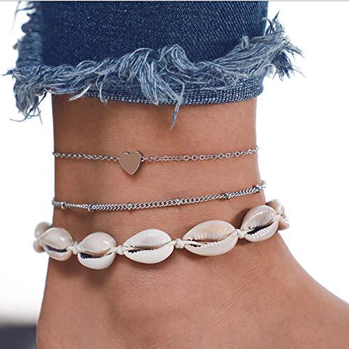 Edary Beach geschichtete Muschel Fußkettchen Herz Fußkettchen Armband Perlen Fußschmuck für Frauen und Mädchen (3 Stück)