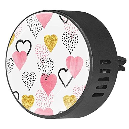 BestIdeas 2 clips de ventilación ambientador de coche con colorido diseño de corazones de amor, difusor de aceites esenciales de aromaterapia