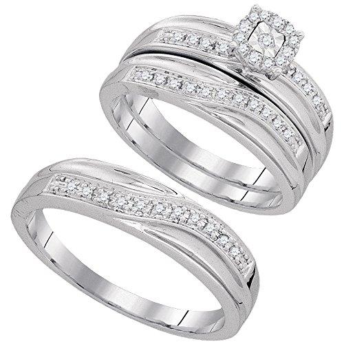 Jewels By Lux - Anillo de Boda de Oro Blanco de 10 Quilates con Diamantes Redondos a Juego, tamaño 6