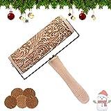 HIQE-FL Legno 3D Mattarello di Natale,Mattarello Decorativo Natale,Mattarello Inciso per Biscotti,Mattarello in Rilievo di Natale,Rolling Pin per Biscotti (A)