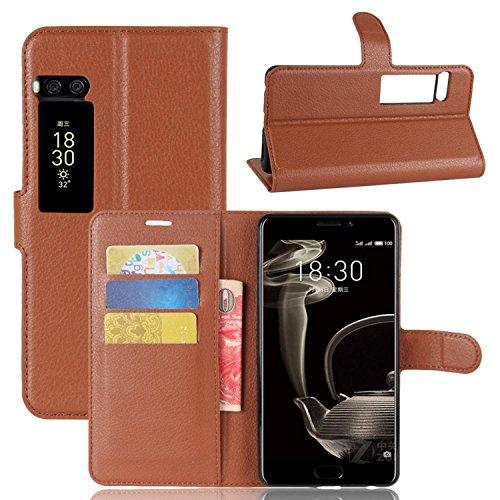 Ycloud Tasche für MeiZu Pro 7 Plus Hülle, PU Kunstleder Ledertasche Flip Cover Wallet Case Handyhülle mit Stand Function Credit Card Slots Bookstyle Purse Design braun