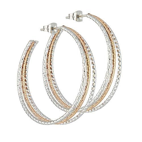 Treuheld® | 3 Reihen CREOLEN mit 2 Farben aus Edelstahl - große Damen & Mädchen Ohrringe in Silber und Rose-Gold - mehr-reihige Ohrstecker - STECKVERSCHLUSS - Ohrschmuck zum Stecken