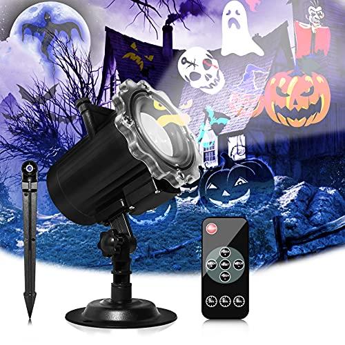 Proiettore Luci Halloween,Segotendy Natale Halloween Lampada per Proiettore LED con 16 Diapositive,Illuminazione Natalizia Proiettore Impermeabile con Telecomando e Timer per Natale Feste Compleanno