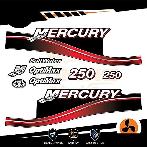 Generico Mercury - Kit de adhesivos para motor marino fuera del borde, 250 CV – Versión Optimax rojo