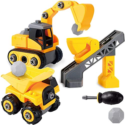 Izzya Disassemble Toy Sets Construction Vehicles, DIY Assembly Dump Truck, Excavator with Stones and Screwdriver for Boys and Girls
