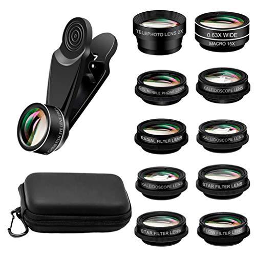 Hemobllo Conjunto de lentes para celular com 10 peças de lente externa para fotografia de grande angular com bolsa de armazenamento de viagem