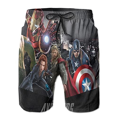 BetterShopDay Avengers - Pantaloncini da bagno da uomo, con stampa 3D, divertenti costume da spiaggia hawaiano, da surf, palestra, con tasche, per estate, spiaggia, vacanze, M-XXL bianco M