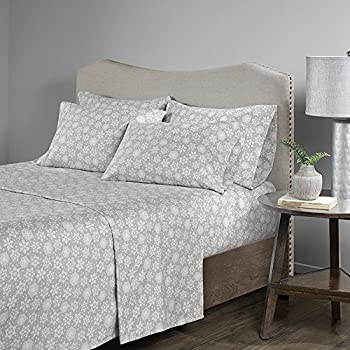Comfort Spaces Cotton Flannel Breathable Warm Deep Pocket Sheets With Pillow Case Bedding Cal King Snowflakes Grey