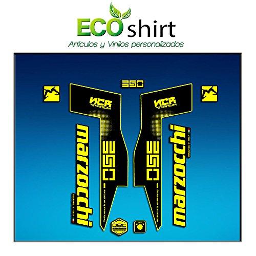 Ecoshirt D2-UKVK-JSUD Autocollants Fork Marzocchi 350 NCR Titanium Am72 Autocollants Fourche Gabel Fourche Fourche Jaune