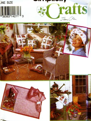OOP Simplicity Crafts Pattern 8523. Gardening Hat, Aprons, Chair Cover, Table Cloth & Topper, Place Mat, Napkin, Apron for Bucket & Large & Small Pillow Covers