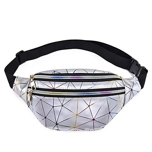 Holographic Fanny Pack Women Silver Laser Bum Bag Travel Shiny Waist Bags Fashion Girls Pink Leather Hologram Hip Bag Silver23*8*12.5cm