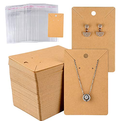 MIAHART 150 Set Earring Card with 150 Pcs Bags, Earring Card Holder Blank Kraft Paper Tags for DIY Ear Studs Necklace Jewelry Display (Brown)