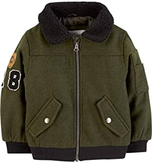 Baby Boys' Infant Olive Faux Wool Bomber Jacket