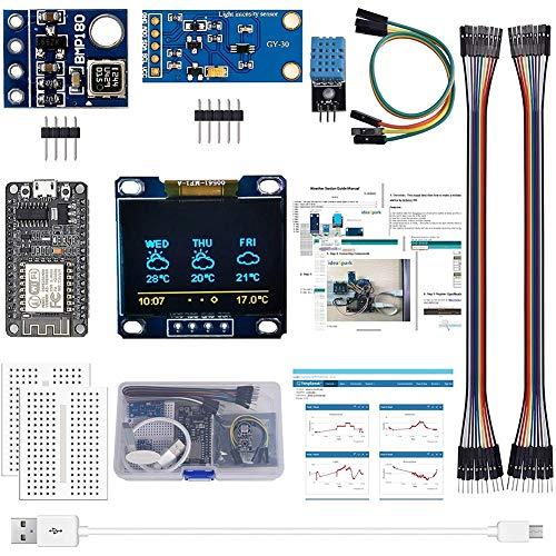 Karelu Kit de estaciones meteorológicas ESP8266 con DHT11, sensor de luz BMP180 de 0,96 pulgadas, pantalla OLED IIC para