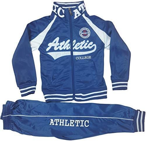 Generic Kinder Jungen Mädchen Trainingsanzug Sportanzug Jogginganzug Schulanzug Freizeitanzug Hausanzug Jogging Hose Jacke Sporthose Athletics (Blau, 98/104)