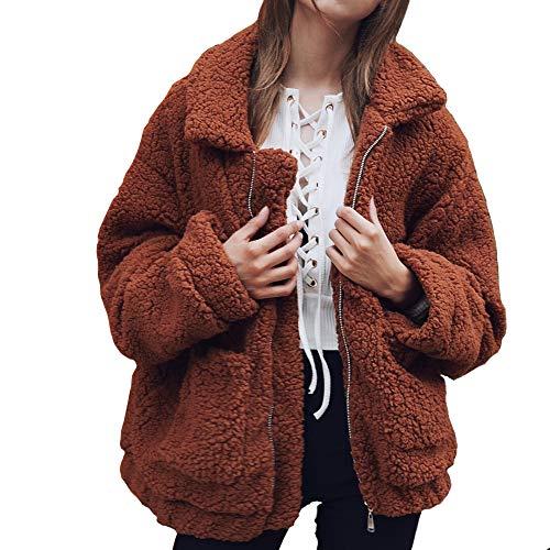 Winterjacke Damen Mantel Warmer Wintermantel Woll Cardigan Kurz Fell Wear Parka Teddy Faux Mantel Jacke Plüsch Coat Women Winter Over Jacket,2-Braun,M