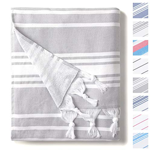 Stone Grey and White Turkish Towel by Laguna Beach Textile Co - Oversized Thick Cotton Fouta - Classic Coastal Peshtemal - Lightweight, Portable, Super Absorbent - Woven and Terry Extra Large Hammam