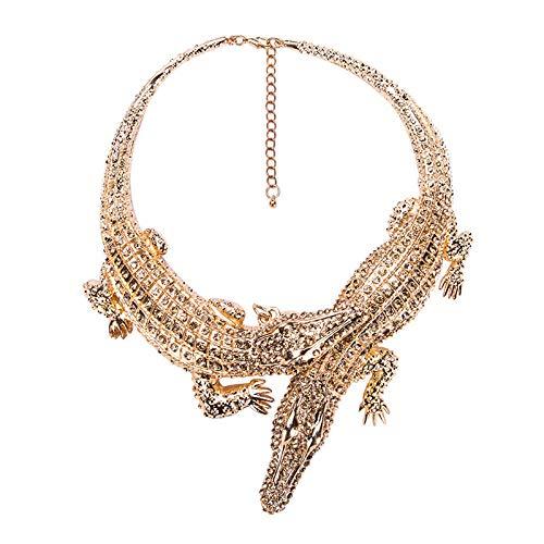 TWWTHX Collar gótico Punk Diseño Exagerado Punk Collar de cocodrilo de Diamantes de imitación Completo para Mujer Moda Tendencia Collar Llamativo Collar Bijoux-C.