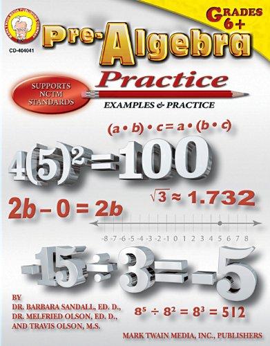 Mark Twain - Pre-Algebra Practice Book, Grades 6 - 8