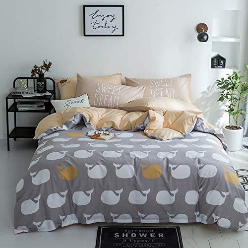 yaonuli Vierteiliges vierteiliges Bettlaken aus Baumwolle - 1,5 m (5 Zoll) [geeignet für Steppdecke 200X230]