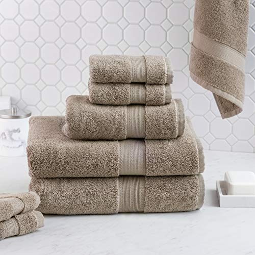 Luxus Premium 100% Cotton 8 Piece Towel Set (Pebble) - Supersoft - Highly Absorbent - Quick Dry - Hotel Spa Bathroom Towel Collection - 2 Bath Towels - 2 Hand Towels - 4 Wash Towels