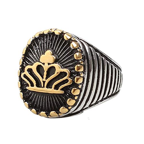 KnBoB Homme Bague Rayée Ovale Couronne Or Acier Inoxydable Bague Taille 54