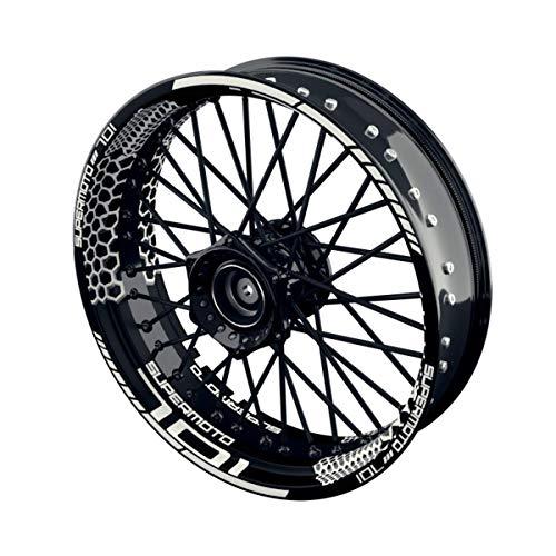 OneWheel Felgenaufkleber Motorrad passend für Supermoto Husqvarna 701 Design 3   17 Zoll   Vorder- und Hinterrad inkl. Farbiger Spokes (schwarz)