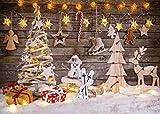 LYWYGG 8x6FT Noël Thème Fond Planche de Bois Cerf de Noël étoiles Brillantes Arbre de Noël Enfants Photographie Enfants Fond Fond Photo Noël Fond Studio Photo Noël CP-100-0806