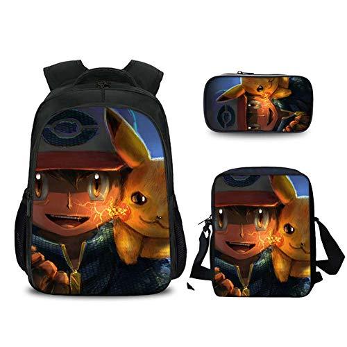 GNZY Scuola Zaino Pokémon Detective Pikachu Zaino Set di Borse da Scuola con Borsa per Il Pranzo e Sacchetto della Matita per Bambini Ragazza Ragazzo Adolescente 6-16 Anni,C