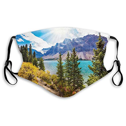 Comfortable Activated Carbon mask, National Park Banff Canadian Rockies Mountain Trees Glacial Lake Sunny Sky,Printed Facial decorations for adults Man Woman M