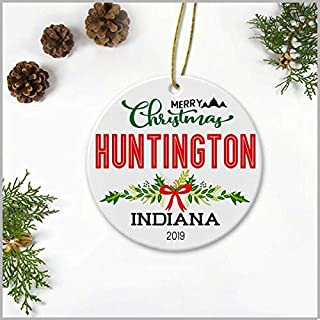 GrayPalace Family Ornaments with Printed City and State-Merry Christmas Huntington Indiana 2019-Ceramic 3