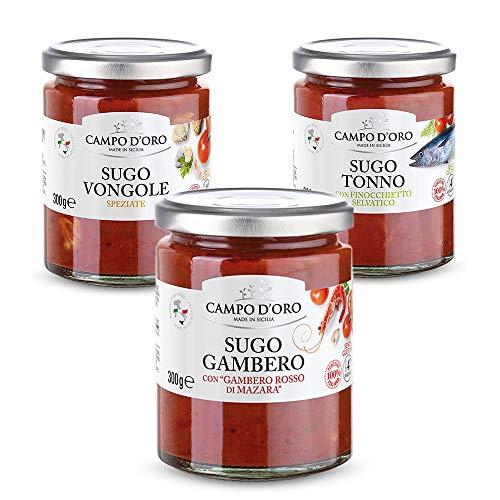 CAMPO D'ORO Set 3 Pezzi SUGO PRONTO GAMBERO ROSSO - TONNO con Finocchietto - VONGOLE Aglio e Prezzemolo 300 GR. Sugo siciliano 100% Made in Italy