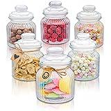 6 Tarros de Cristal con Tapa de 700 ml - Herméticos - Con Etiquetas - Botes para Chuches y Galletas Estilo Vintage