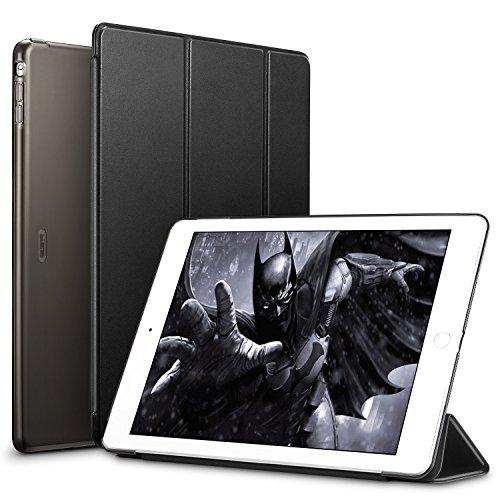 ESR Funda iPad Air Silicona [Auto-Desbloquear] y Función de Soporte [Ligera] de Cuero Sintético y Plástico Duro Transparente Esmerilado Smart Cover Cáscara para Apple iPad Air -Negro