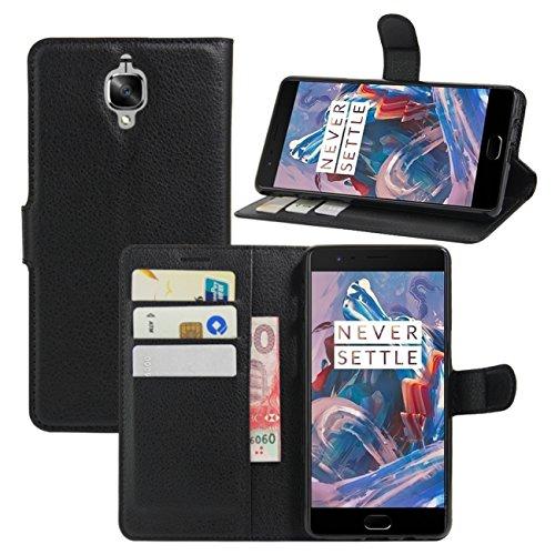 HualuBro OnePlus 3 Hülle, OnePlus 3 Schutzhülle, Premium PU Leder Wallet Flip Tasche Case Cover mit Karten Slot für OnePlus 3 2016 Smartphone (Schwarz)