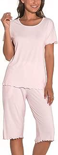 Women Pajama Sets Short Sleeve Bamboo Sleepwear Capri Pants with Pockets Pjs for Women S-2XL