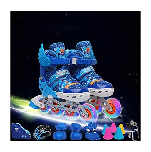Miarui LED Leuchtende Blinkende Rollschuhe Rollschuhe mädchen verstellbar Leucht Inline Skates Rollschuhe Unisex-Kinder Inline Skates für Kinder Jungen Mädchen,Blau,M(33~37)
