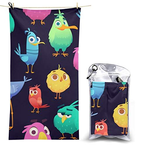 Angry Birds patrón juego loros y exótico bebé secado rápido toalla de camping compacta alta absorbente toalla de playa para gimnasio mochilero senderismo 70x130cm
